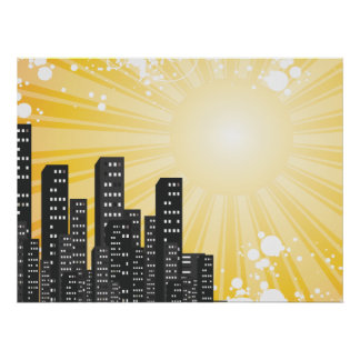 sunny day vector cityscape poster