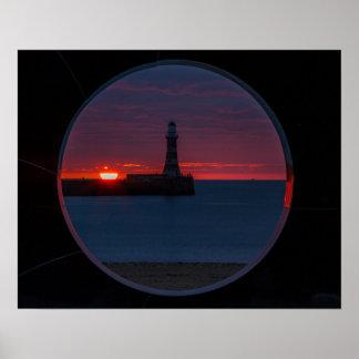 Sunrise at Roker Lighthouse Print/Postage Poster