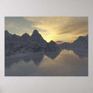 sunset & a frozen river poster