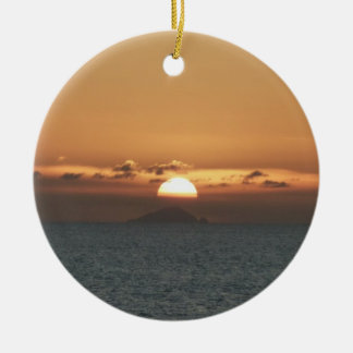 Sunset in Antigua I Seascape Photography Round Ceramic Decoration