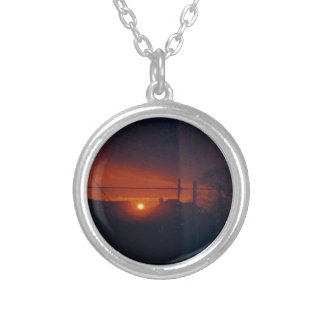 sunset in my window round pendant necklace