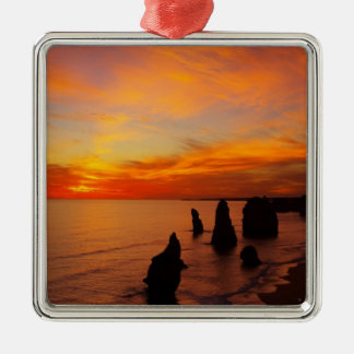 Sunset, Twelve Apostles, Port Campbell National Silver-Colored Square Decoration