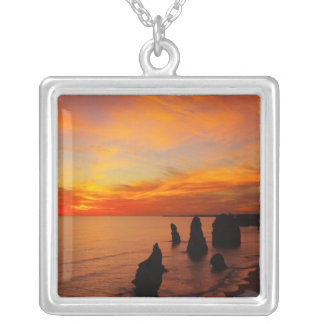 Sunset, Twelve Apostles, Port Campbell National Square Pendant Necklace