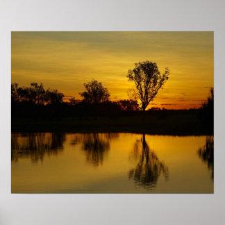 Sunset, Yellow Water Billabong Poster