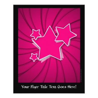 Super Hot Pink Stars and Swirl Background 11.5 Cm X 14 Cm Flyer