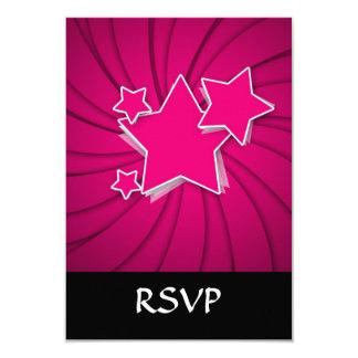Super Hot Pink Stars and Swirl Background 9 Cm X 13 Cm Invitation Card