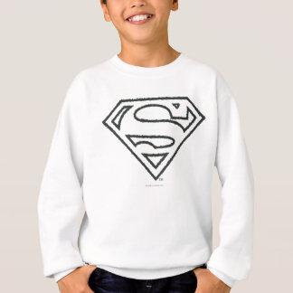 Superman S-Shield | Grunge Black Outline Logo T Shirt