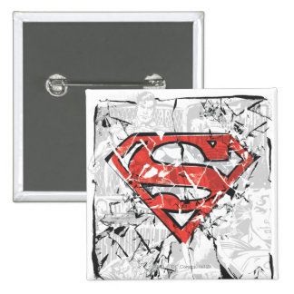 Superman Stylized | Crumpled Comic Logo 15 Cm Square Badge