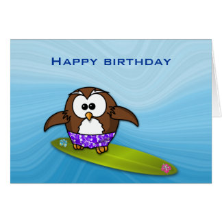 surfer owl greeting card
