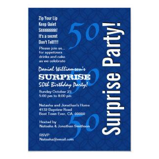 SURPRISE 50th Birthday Modern Royal Blue G200 13 Cm X 18 Cm Invitation Card