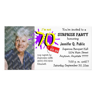Surprise 70th Birthday Party Photo Invitation Personalized Photo Card