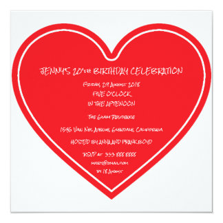 Surprise Birthday Party Red Heart 13 Cm X 13 Cm Square Invitation Card