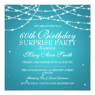 Surprise Birthday Party String of Stars Turquoise 13 Cm X 13 Cm Square Invitation Card