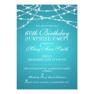 Surprise Birthday Party String of Stars Turquoise 13 Cm X 18 Cm Invitation Card