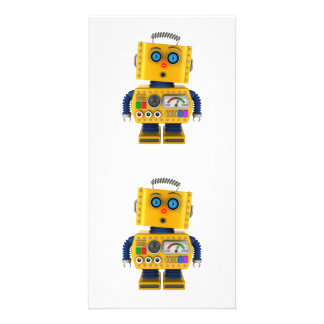 Surprised looking toy robot custom photo card