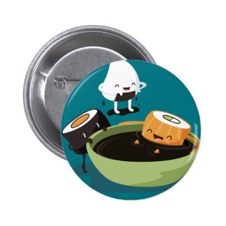 Sushi enjoy bath time funny 6 cm round badge