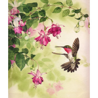 """Hummingbird with Flowers Poster Print"""
