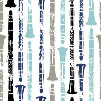 Grunge Clarinet Pattern - Blue