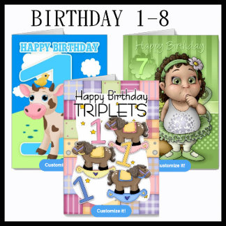Birthday 1-8 - Number Cards