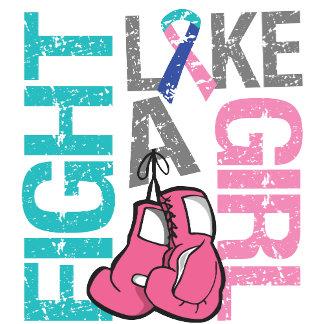 Thyroid Cancer Fight Like a Girl Grunge Slogan