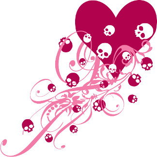 Pink Heart with Skulls and Swirls T-shirts and Gif