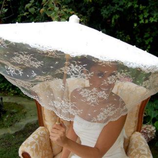 Lace Ivory & Cream Parasol w/Swarovski Pearls