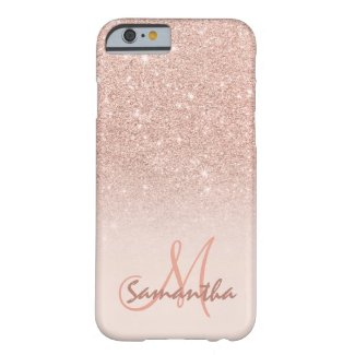 Stylish rose gold ombre pink block personalised barely there iPhone 6 case
