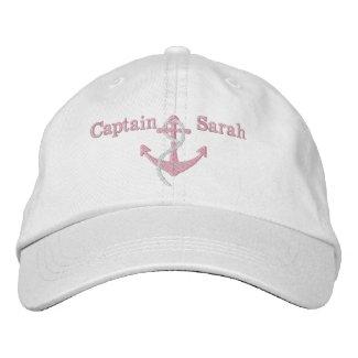 Women's Pink Captain Nautical Anchor Name Hat