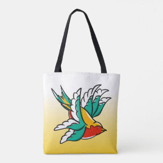Swallows inspired by traditional tattoo design tote bag