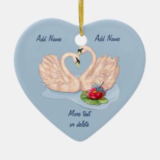 Swan Pair - Customize Ceramic Heart Decoration