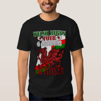 Swansea, Welsh Rugby Tour T Shirt Welsh Dragon