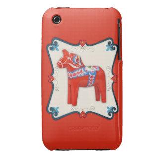 Swedish Dala Horse Folk Art Framed Case-Mate iPhone 3 Case