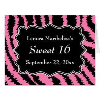 Sweet 16 Black and Pink Zebra Pattern Big Greeting Card