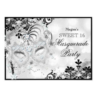 Sweet 16 Jewel Mask & Damask Silver Masquerade 11 Cm X 16 Cm Invitation Card