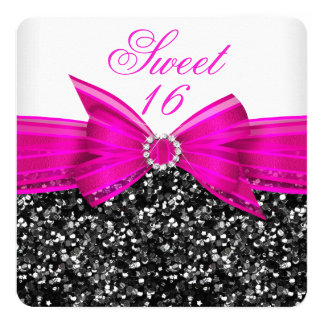 Sweet 16 Luxury Glitter Hot Pink Bow Black White 13 Cm X 13 Cm Square Invitation Card