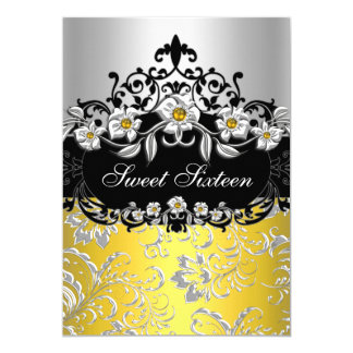 Sweet 16 Yellow Silver Black Floral Jewel Party 13 Cm X 18 Cm Invitation Card