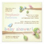 Sweet Birdie Pink & Blue Baby Shower Invitation