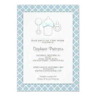 Sweet Blue | Brown Bottle Baby Shower Tea Party 13 Cm X 18 Cm Invitation Card