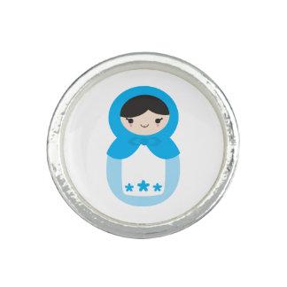 Sweet Blue Matryoshka Doll Ring