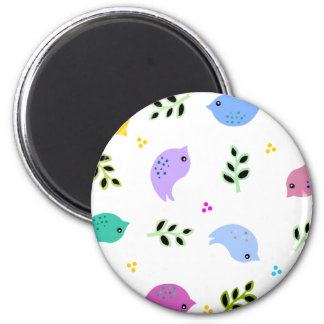 Sweet Colorful Birds Pattern 6 Cm Round Magnet