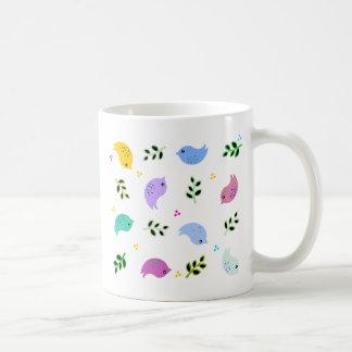 Sweet Colorful Birds Pattern Basic White Mug