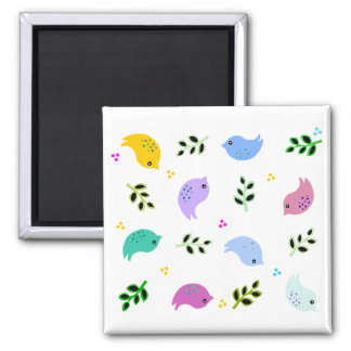 Sweet Colorful Birds Pattern Square Magnet