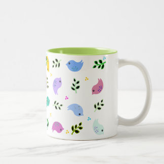 Sweet Colorful Birds Pattern Two-Tone Mug