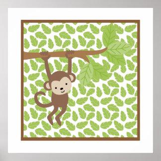 Sweet Safari Little Monkey Nursery Wall Art Poster