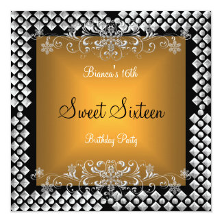 Sweet Sixteen Birthday 16 16th Gold Silver Black 13 Cm X 13 Cm Square Invitation Card