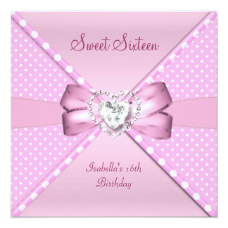 Sweet Sixteen Sweet 16 Birthday Party Pink Spot 13 Cm X 13 Cm Square Invitation Card
