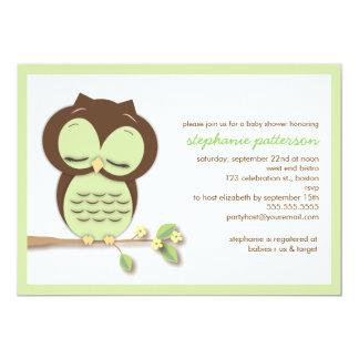 Sweet Sleepy Green Owl Neutral Baby Shower 13 Cm X 18 Cm Invitation Card