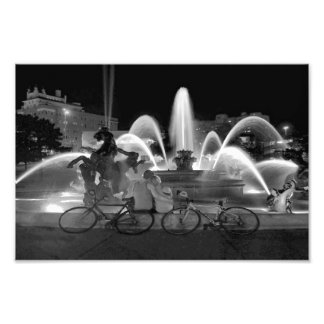 Sweethearts at the J C Nichols Fountain B W Photographic Print
