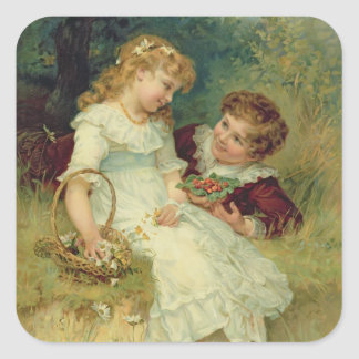 Sweethearts, from the Pears Annual, 1905 Square Sticker