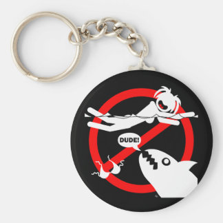 Swimming Danger Magnets, buttons and more Basic Round Button Key Ring